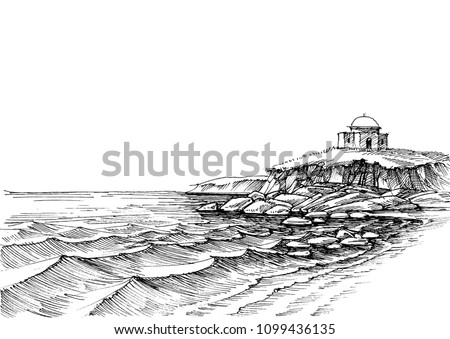 Rocky sea shore and empty sand beach hand drawing. Nature wallpaper