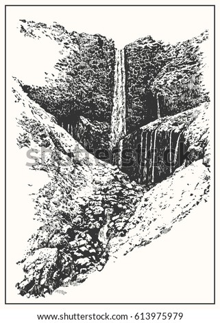 Rocky waterfall in a mountains. Black and white dashed style sketch, line art, drawing with pen and ink. Western classical trend of book illustration and comic art.