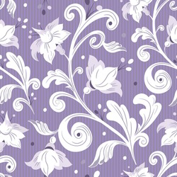 Rococo floral seamless pattern.White flowers,leaves on lilac background.Damask ornament, royal victorian texture for  textile,wallpapers, wrapping.  Vector retro illustration  in the style of Baroque.