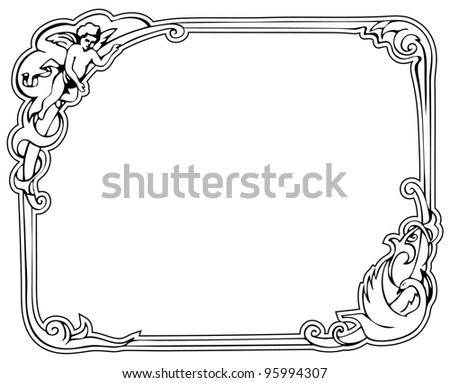 Rococo Frame. Image of an ancient frame with leaves, ribbons etc.