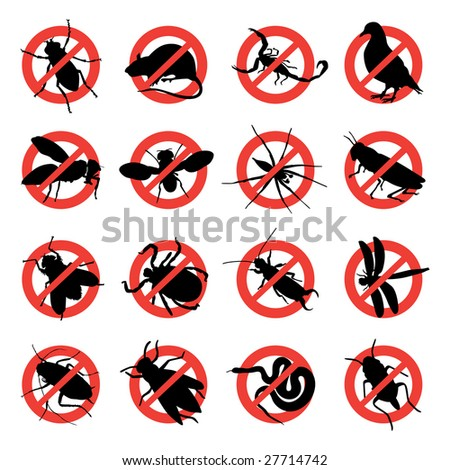 rodent and pest with warning signs