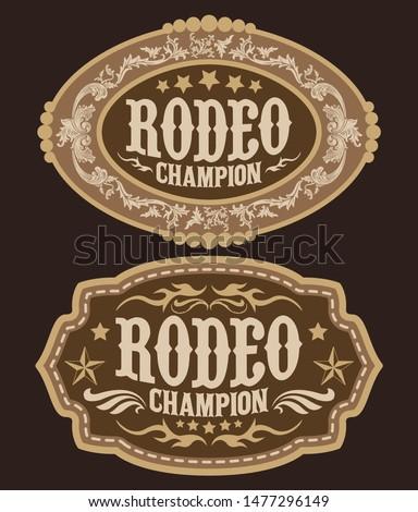 Rodeo Champion Cowboy belt buckle vector design Stock photo ©