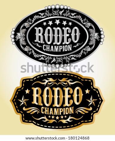 Rodeo Champion - cowboy belt buckle vector design Stock photo ©