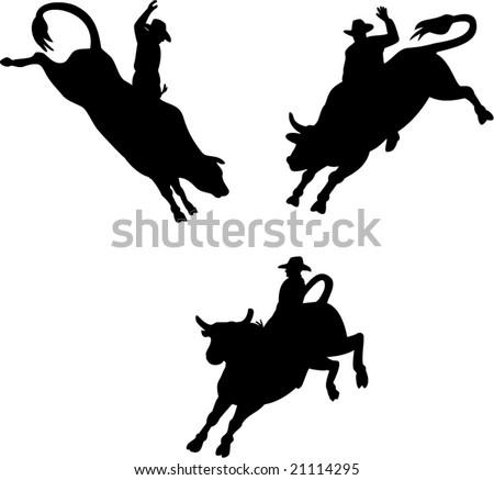 Rodeo cowboy riding a bucking bull