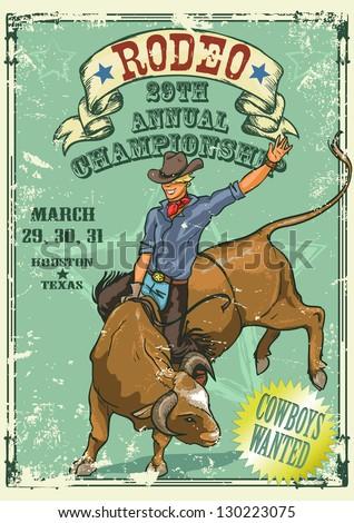 rodeo cowboy riding a bull ...
