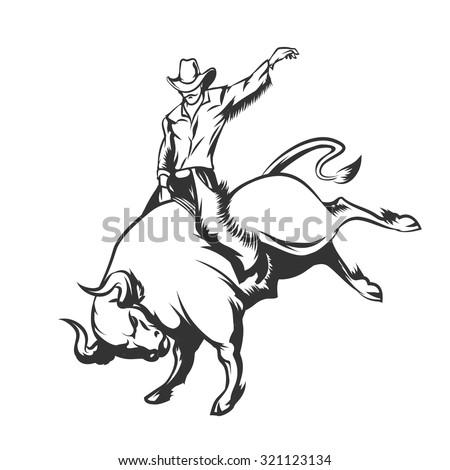 rodeo cowboy riding a wild bull....