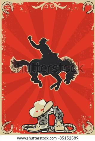 Rodeo cowboy.Wild horse race.Vector graphic poster with grunge background for text
