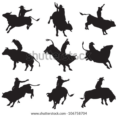 rodeo on bulls silhouette
