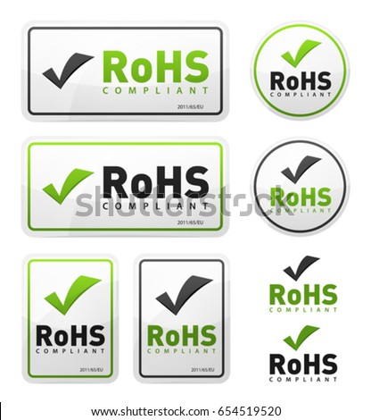 RoHS Compliant Icons Set/ Illustration of a set of rohs compliant certificate signs, illustrating european union directive on hazardous substances