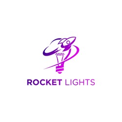 roket with light bulb logo template
