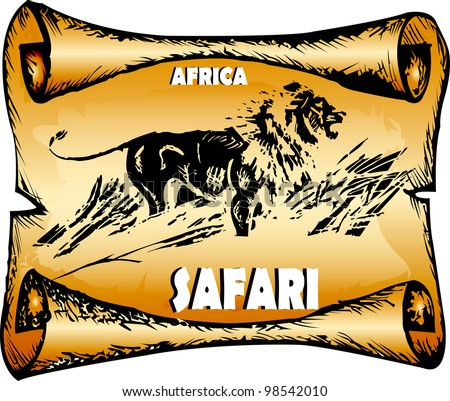 Roll a lion the king of animals. Africa, a safari, a lion. A vector picture for the poster. EPS 10