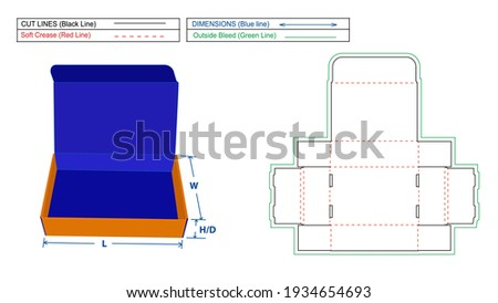 Roll End Tuck Top (RETT) Corrugated mailer box or shipping box dieline template and 3D render file Stock fotó ©