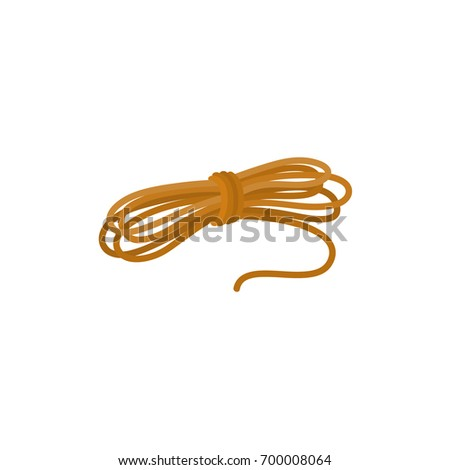 Roll of ship rope, side view flat cartoon vector illustration isolated on white background. Flat cartoon illustration of rolled up ship rope for anchoring, docking
