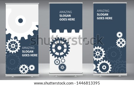 Roll up banner abstract techno gear background with geometric colorful gear wheels. Space for gear text. Vector gears modern mechanism industrial concept. Technology gears background. gears Vector.