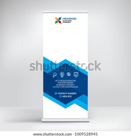 Roll-up banner design, stand for conferences, presentations, promotions and events, modern abstract graphic style