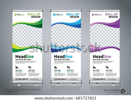 Roll up banner design template, abstract background, pull up design, modern x-banner, rectangle size. #685727821