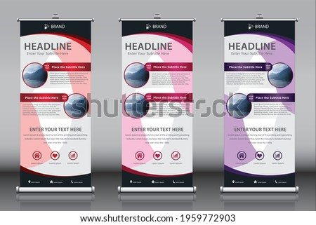 Roll up banner design template vector with 2 images two titles and three color themes. Vertical sign board advertisement, X-banner and Street Business Flag, Exhibition banner, Layout Background
