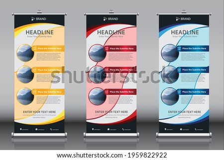 Roll up banner design template vector with three images 3 titles, Gold Red Blue themes. Vertical sign board advertisement, X-banner and Street Business Flag, Exhibition banner, Layout Background