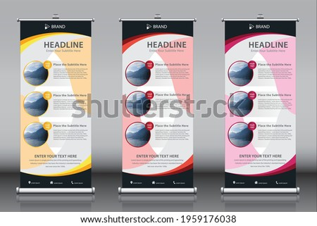Roll up banner design template vector with three images, 3 titles, three themes. Vertical sign board advertisement, X-banner and Street Business Flag, Exhibition banner, Layout Background