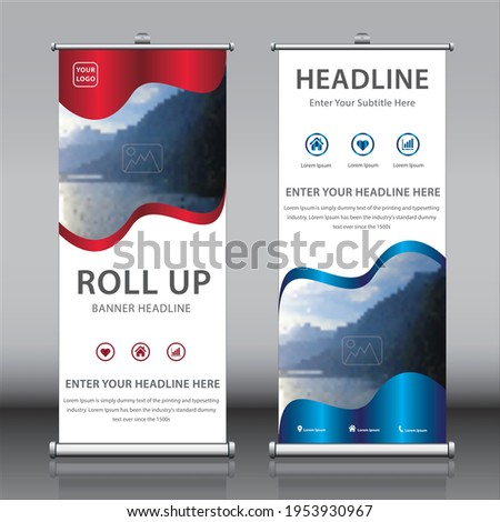 Roll up banner design template vectors with an image and titles. Beautiful colorful vertical rectangle size x banner for school presentations, advertisements, exhibitions publications and marketing
