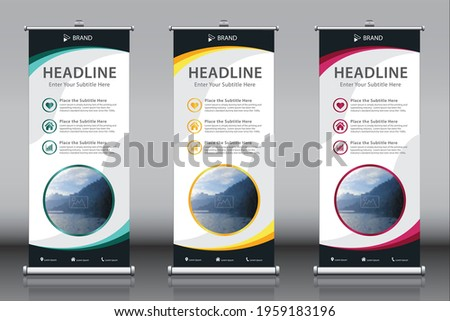 Roll up banner design template vectors with an image, titles, description, three themes. Vertical sign board advertisement, X-banner and Street Business Flag, Exhibition banner, Layout Background