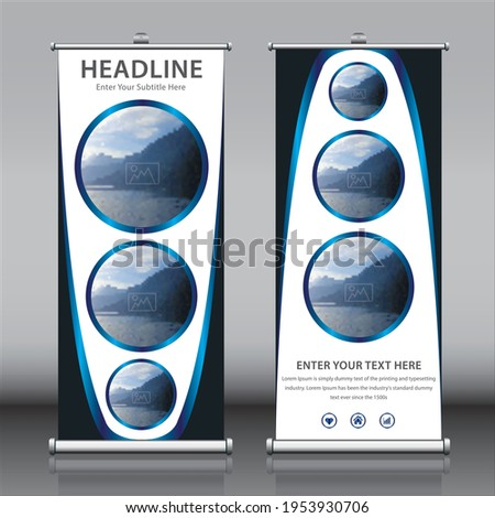 Roll up banner design template vectors with Three images. Beautiful colorful vertical rectangle size x banner for school presentations, advertisements, exhibitions publications and marketing