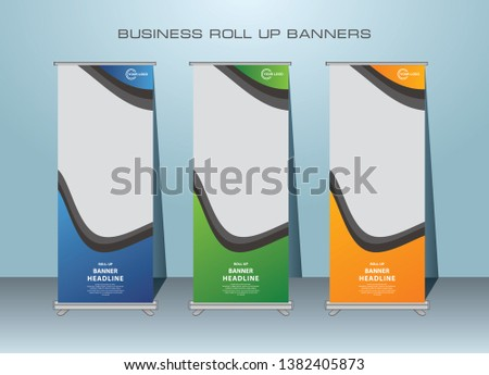 Roll up banner design template, vertical, abstract banner background, standing banner template design. #1382405873