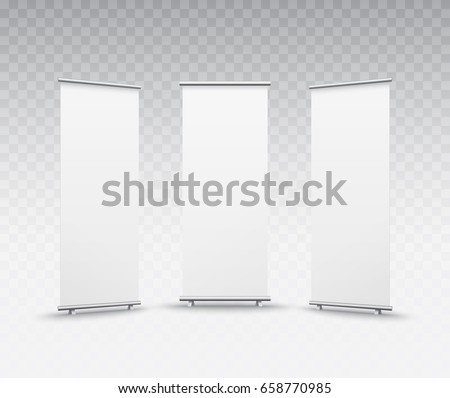 Roll up banner isolated on transparent background. Vector show display set mockup for presentation your product. Vertical blank roll up stand for trade advertising design