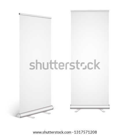 Roll up banner isolated on white background. Eps10 vector. Vector illustration.
