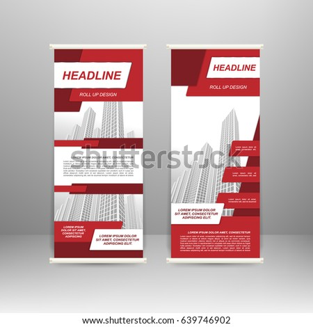 Roll up banner stand design. For advertisement, poster, brochure, presentation, business template Vector illustration