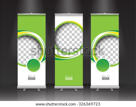 Roll up banner stand design. Vector. #326369723