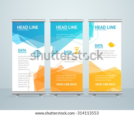 Roll Up Banner Stand Design with Abstract Geometric Colorful Bubble Speech. Vector illustration
