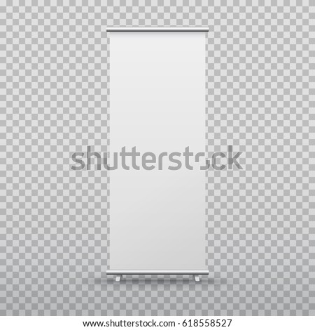 Roll up banner stand isolated on transparent background. Vector empty white show display mock up for presentation or exhibition your product. Vertical blank roll up board for trade advertising design