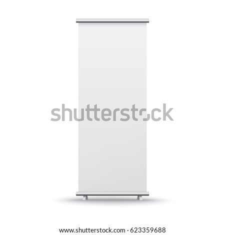 Roll up banner stand isolated on white background. Vector empty show display mock up for presentation or exhibition your product. Vertical blank roll up board for trade advertising design