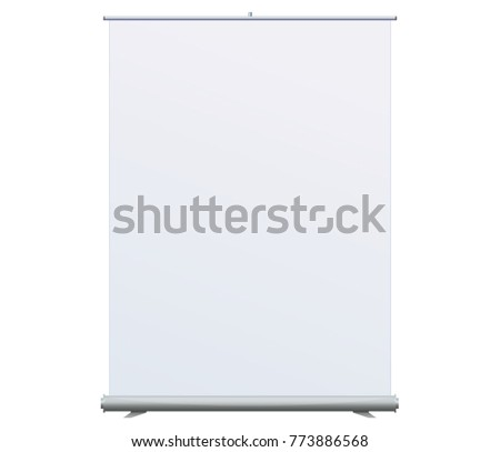 Roll Up Banner Stand on isolated clean background. Design template blank pop up banner display template for designers. Vector illustration EPS 10. Flipchart for training or promotional presentation