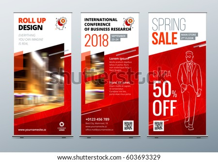 Roll Up banner stand. Presentation concept. Corporate business roll up template background. Vertical template billboard, banner stand or flag design layout. Poster for conference, forum, shop