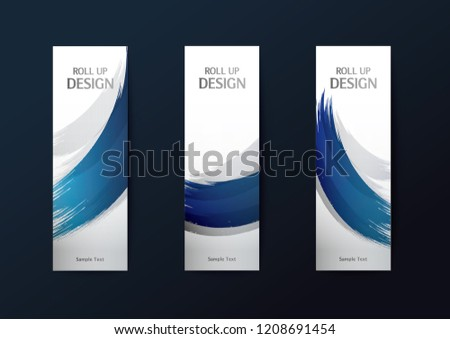 Roll up banner stand template. Abstract background design. Vector illustration