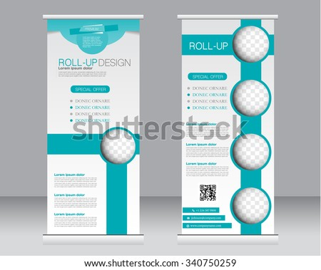 Roll up banner stand template. Abstract background for design,  business, education, advertisement.  Green color. Vector  illustration.