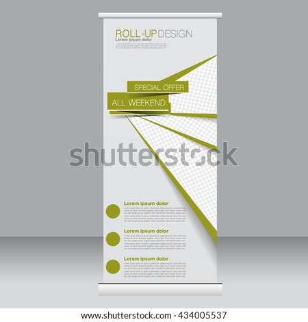 Roll up banner stand template. Abstract background for design,  business, education, advertisement. Green color. Vector  illustration. #434005537