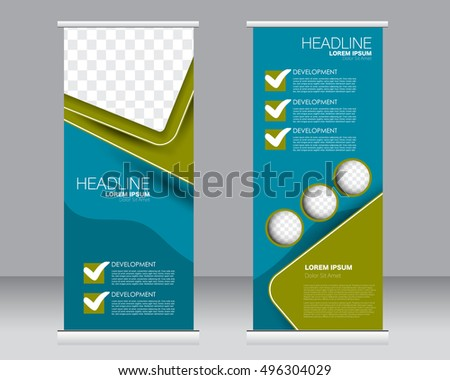 Roll up banner stand template. Abstract background for design,  business, education, advertisement. Green and blue color. Vector  illustration. #496304029