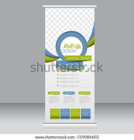 Roll up banner stand template. Abstract background for design,  business, education, advertisement. Vector  illustration. Blue and green color #519086602
