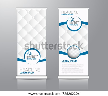 Roll up banner stand template. Abstract background for design,  business, education, advertisement. Blue and brown color. Vector  illustration. #726262306