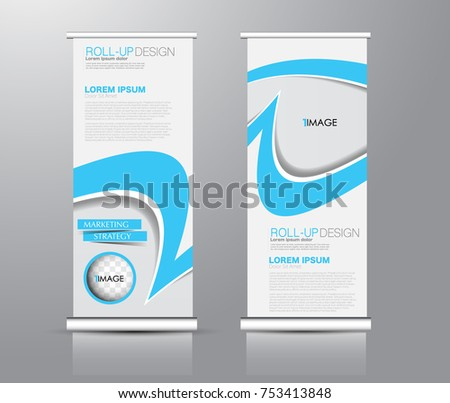 Roll up banner stand template. Abstract background for design,  business, education, advertisement. Blue color. Vector  illustration. #753413848