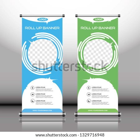 Roll up banner stand template. Blue and Green, Abstract background for design, business, advertisement. Vector illustration - Vector #1329716948