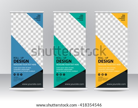 roll up banner stand design template download free vector art