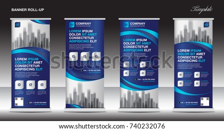 Roll up banner stand template design, Blue banner layout, advertisement, pull up, polygon background, vector illustration, business flyer, display, x-banner, flag-banner, infographics, presentation #740232076