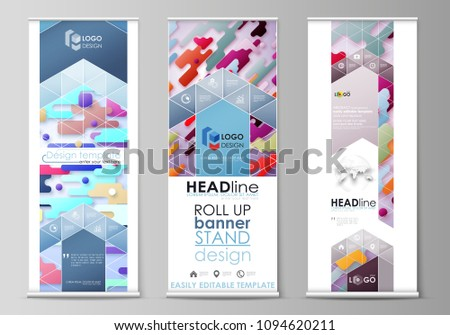 Roll up banner stands, flat design templates, abstract style, corporate vertical vector flyers, flag layouts. Bright color colorful minimalist backdrop with geometric shapes, minimalistic background. #1094620211