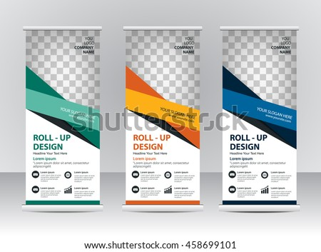 Roll up banner template design #458699101