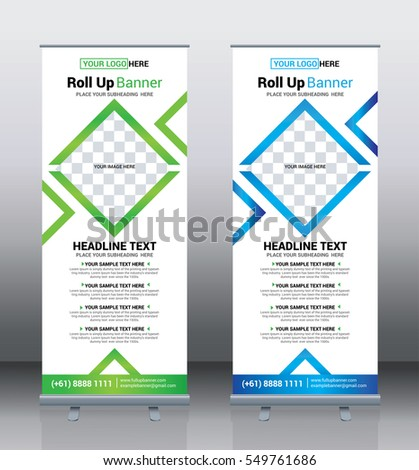 Roll up banner template design, Pull up banner, corporate vertical banner, Green and Blue