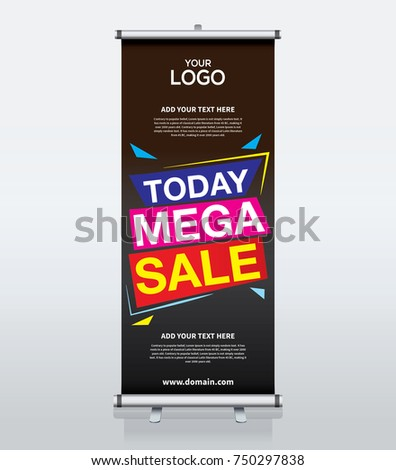 Roll up brochure banner design template, abstract background, pull up design, modern x-banner and flag-banner, rectangle size.